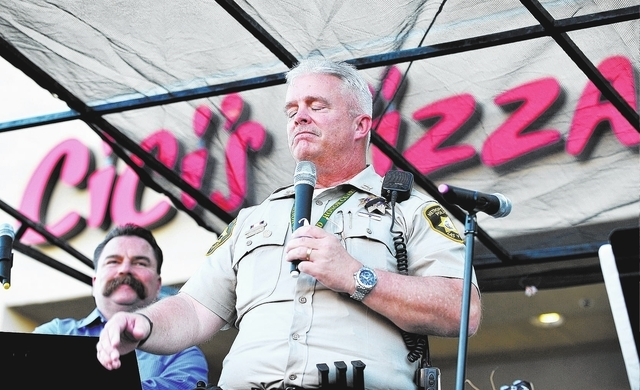 Las Vegas police Capt. Richard Fletcher pauses as he speaks during a candlelight vigil at CiCi's Pizza at 309 N. Nellis Blvd. on Monday, June 9, 2014.  Las Vegas police officers Alyn Beck and Igor ...