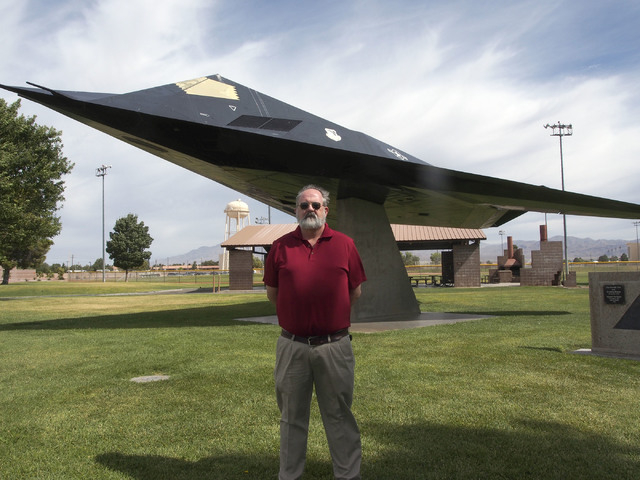 Jerry White, 99th Air Base Wing historian, stands in front of an F-117A stealth fighter at Freedom Park at Nellis Air Force Base in Las Vegas, Monday, June 24, 2013. (Jerry Henkel/Las Vegas Review ...