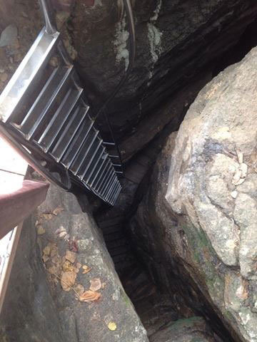 First of two ladders down rock chasm to access Baía do Sancho from 100-foot cliff. (Courtesy/Brennan Karle)