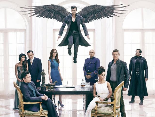 DOMINION -- Season:1 -- Pictured: (back l-r) Shivani Ghai as Arika, Anthony Stewart Head as Senator David Whele, Rosalind Halstead as Senator Becca Thorn, Alan Dale as General Riesen, Carl Beukes  ...