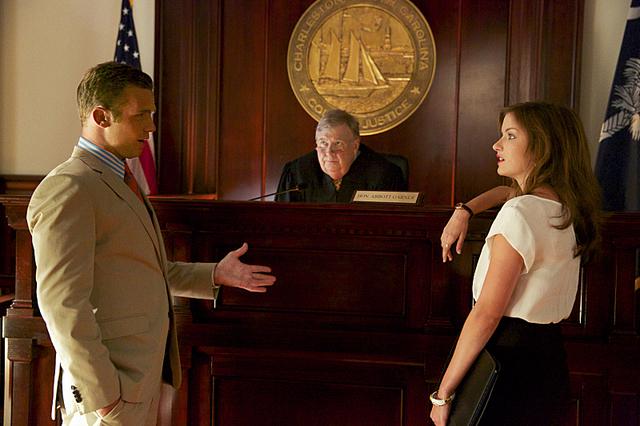 """Cam Gigandet as Roy Rayder, Tim Ware as Judge Abbott Garner and Anna Wood as Jamie Sawyer in """"Reckless,"""" which airs Sundays on CBS. (Jackson Lee Davis/CBS)"""