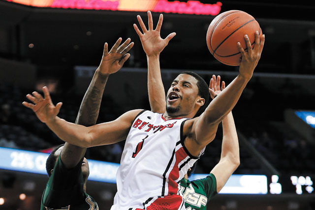 Former Rutgers player Jerome Seagears said Wednesday he will transfer to UNLV, where he is expected to back up at point guard for the Rebels. (AP Photo/Mark Humphrey)