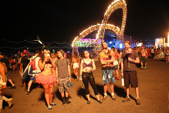 Attendees observe an art installation at the Electric Daisy Carnival at the Las Vegas Motor Speedway in Las Vegas on Friday, June 20, 2014. (Chase Stevens/Las Vegas Review-Journal)