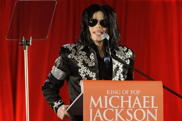 In this March 5, 2009 file photo, US singer Michael Jackson announces that he is set to play ten live concerts at the London O2 Arena in July, which he announced at a press conference at the Londo ...
