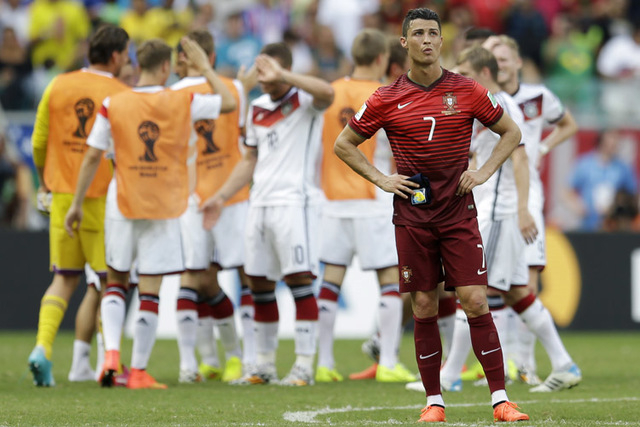 Portugal star Cristiano Ronaldo, shown Monday following a 4-0 loss to Germany in a World Cup Group G match at Salvador, Brazil, this year gained his second FIFA player of the year award. (AP Photo ...