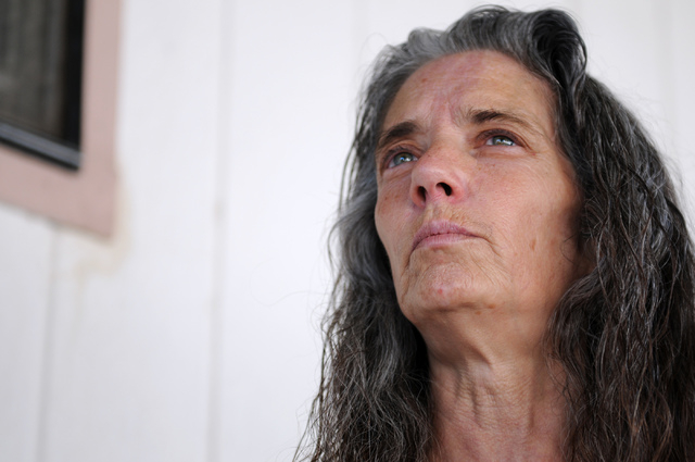 Deborah Wilcox, whose son Joseph Wilcox was killed attempting to stop Jerad and Amanda Miller Sunday at Walmart, is interviewed at her home in Las Vegas Monday, June 9, 2014. (Erik Verduzco/Las Ve ...