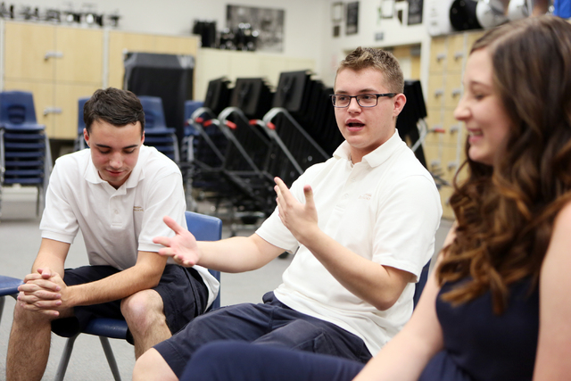 Former Miller Middle School student Connor O'Toole, 17, center, speaks during an interview at Miller Middle School Thursday, June 5, 2014, in Henderson. His former classmates Ryan Everson, 17, lef ...