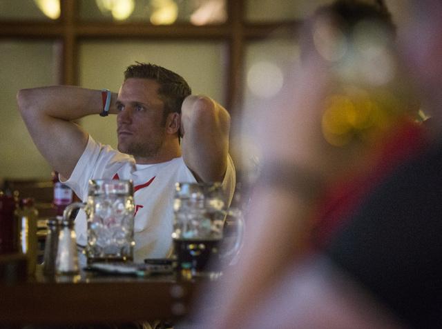 Englishman Matt Bucknall watches his team play Uruguay on TV at the Hofbrauhaus Las Vegas, 4510 Paradise Road, Thursday, June 19, 2014. England was beaten 2-1 in World Cup soccer play. (Jeff Schei ...