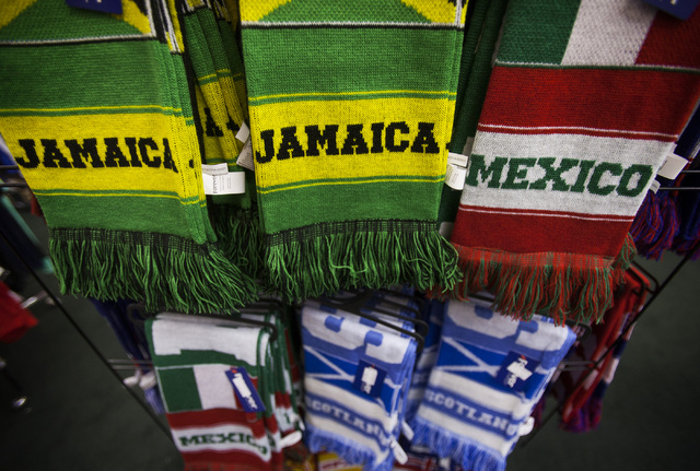 World Cup team merchandise on display at Uniform Sports, 7400 Las Vegas Blvd. South on Thursday, June 19, 2014.  The sports store is taking advantage of the popular soccer event. (Jeff Scheid/Las  ...