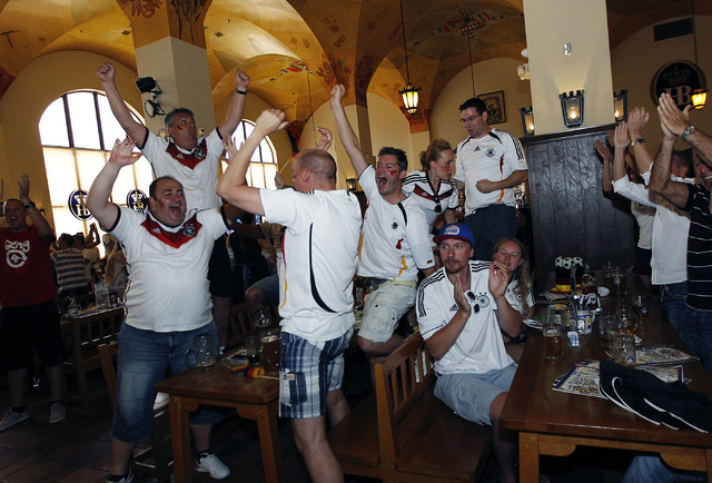 A group of German soccer fans react after their team scored a goal against Ghana during the World Cup soccer game at the Hofbrauhaus in Las Vegas on June 21, 2014. (Jason Bean/Las Vegas Review-Jou ...