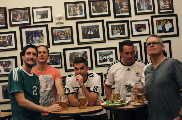 A group of Germany fans react after Ghana scored a goal against their team during the World Cup soccer game at the Hofbrauhaus in Las Vegas on June 21, 2014. (Jason Bean/Las Vegas Review-Journal)