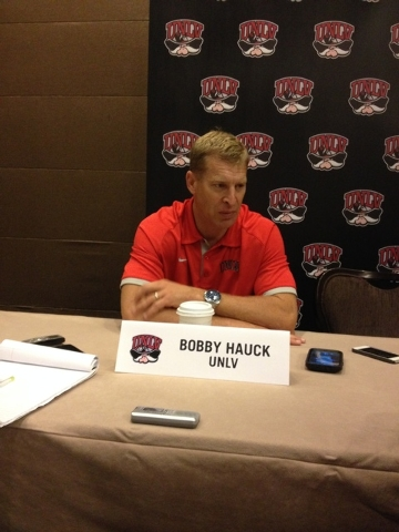Coach Bobby Hauck meets with reporters at Mountain West media day on Wednesday. (Lori Cox/Las Vegas Review-Journal)