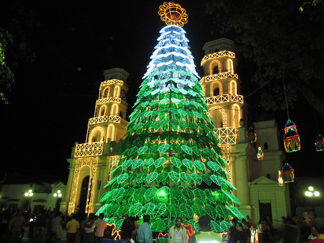 This Dec. 25, 2013 image shows a display of lights outside a church in Medellin, Colombia, which is famous for its holiday lights. Beth Harpaz and her family saw the lights with a private guide wh ...