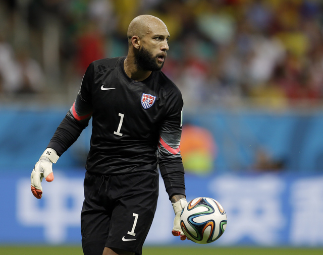 United States' goalkeeper Tim Howard gets ready to kick the ball during the World Cup round of 16 soccer match between Belgium and the USA at the Arena Fonte Nova in Salvador, Brazil, Tuesday, Jul ...