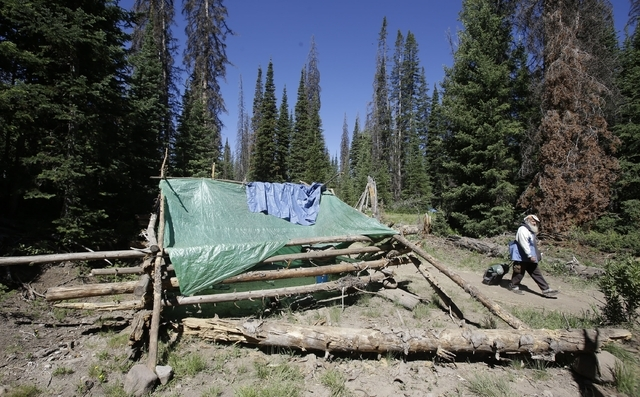 A person walks along a trail in one of the Rainbow Family encampments Tuesday, July 1, 2014, in the Uinta National Forest, Utah. About 4,000 members of a counterculture group known as the Rainbow  ...