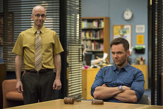 "This photo released by NVC shows, Jim Rash, left, as Dean Pelton, and Joel McHale as Jeff Winger, in a scene from season 5 of ""Community."" Yahoo says that it's giving the sitcom ""Co ..."