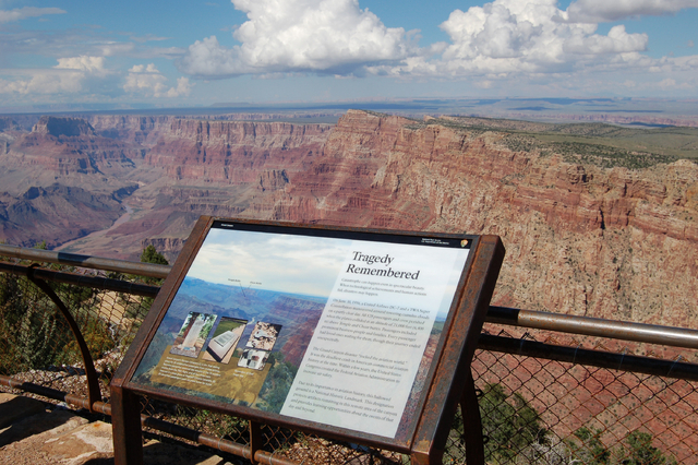 A National Historical Landmark plate overlooking the east end of the Grand Canyon, Ariz., is shown Sept. 12, 2013. Two commercial airplanes, United Flight 718 and TWA Flight 2 crashed on June 30,  ...