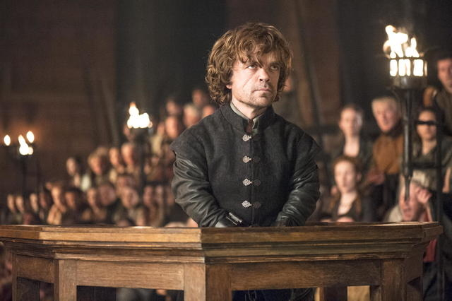 """Peter Dinklage stars in """"Game of Thrones."""" The HBO series garnered 19 Emmy Award nominations on Thursday, July 10, 2014, including one for best drama series. (AP Photo/HBO, Helen Sloan)"""