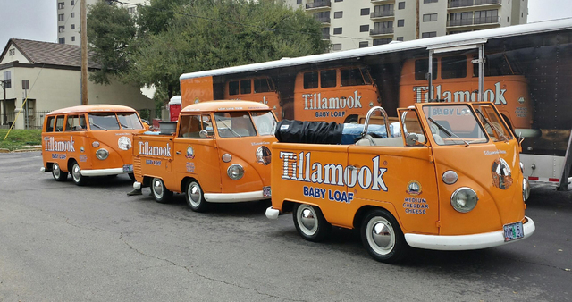 In this undated photo provided by the Manteca Police Department are three Tillamook Cheese vans that were stolen Saturday July 12, 2014. (AP Photo/Manteca Police Dept.)