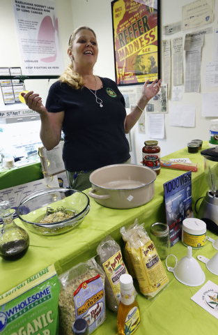 Melissa Fitzgerald discusses how to prepare a cannabis-infused dipping sauce at the New England Grass Roots Institute in Quincy, Mass., on July 10, 2014. Some pot users turn to edibles because the ...