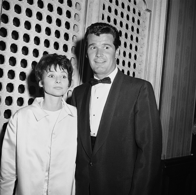 Jim Garner of the TV program ?Maverick? arrives with his wife Lois Clarke at the Emmy Awards, in this April 15, 1958 file photo taken in Hollywood, Los Angeles, Calif. Actor James Garner, wisecrac ...