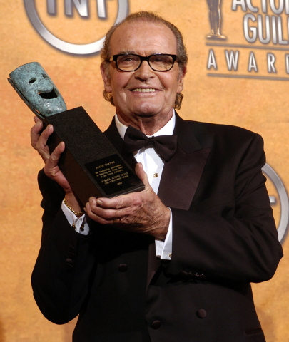 James Garner holds the 41st annual life achievement award backstage at the 11th annual Screen Actors Guild Awards in this Saturday, Feb. 5, 2005 file photo taken in Los Angeles. (AP Photo/Chris Pi ...