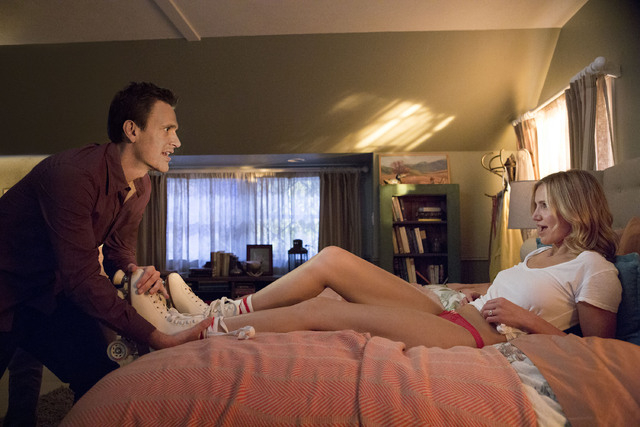 "This image released by Sony Pictures shows Cameron Diaz, right, and Jason Segel in a scene from ""Sex Tape."" (AP Photo/Sony Pictures, Claire Folger)"