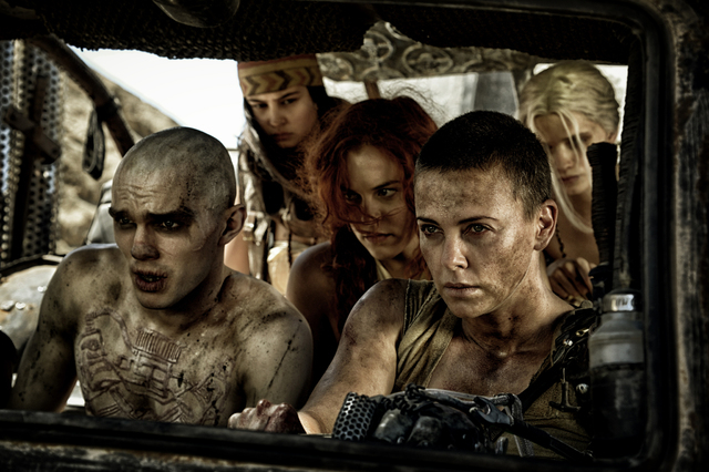 This photo released by Warner Bros. Pictures shows, from left, Riley Keough as Capable (Brainy), Courtney Eaton as Fragile (Cheedo), Charlize Theron as Furiosa, Nicholas Hoult as Nux, PHS-4, and A ...