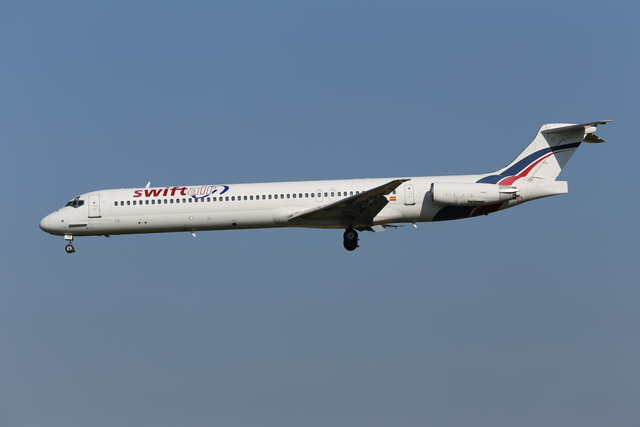 This photo taken on Friday, May 16, 2014 shows an MD-83 aircraft in the livery of Swiftair landing at Zaventem Airport Brussels. An Air Algerie flight carrying over 100 people from Burkina Faso to ...