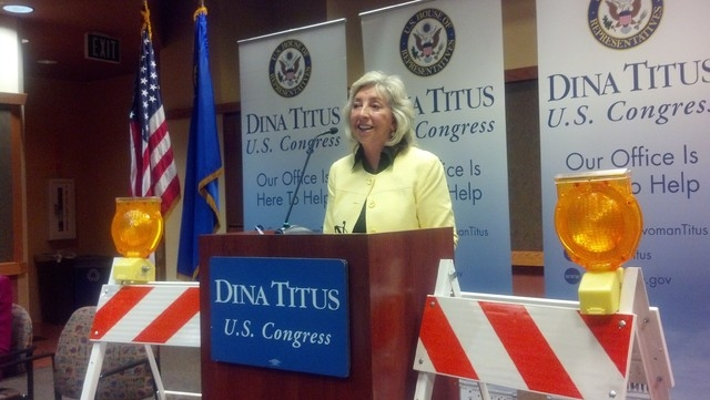 Rep. Dina Titus, D-Nev., announces details of the Innovation in Surface Transportation Act on Monday, July 7, 2014, at the Regional Transportation Commission office. (Richard N. Velotta/Las Vegas  ...