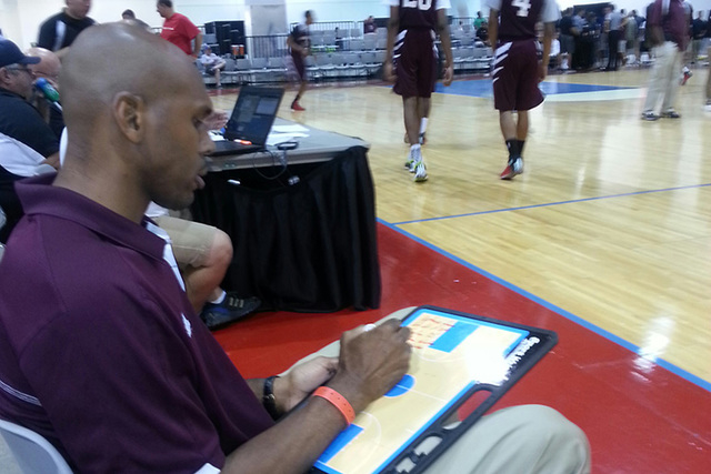 Former NBA star Jerry Stackhouse prepares for his team's third game of the adidas Super 64 event. Stackhouse Elite fell to 1-2 after losing to Mass Rivals, 57-51. (W.G. Ramirez/Review Journal)