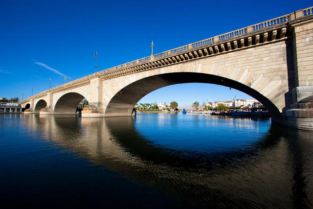 This file photo shows London Bridge, which spans the Colorado River at Lake Havasu City, Ariz. (AP Photo/Courtesy of the Lake Havasu City Convention and Visitors Bureau)