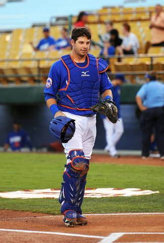 Las Vegas 51s catcher Kevin Plawecki walks up to home plate at the game begins against the El Paso Chihuahuas at Cashman Field, Thursday, July 30, 2014, (Jerry Henkel/Las Vegas Review-Journal)