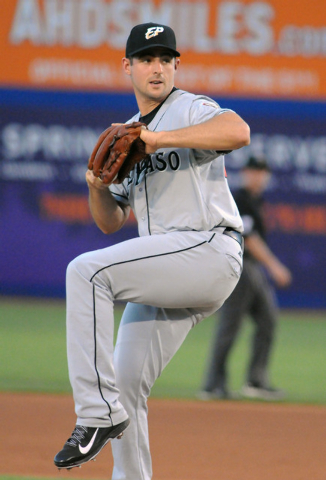 Former Bishop Gorman and College of Southern Nevada ace Donn Roach pitches for the El Paso Chihuahuas against the Las Vegas 51s at Cashman Field, Thursday, July 30, 2014, (Jerry Henkel/Las Vegas R ...