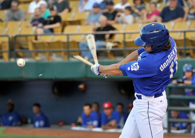Las Vegas Matt den Dekker  snaps a bat as he hits during the first inning of a minor league baseball game against the Salt Lake Bees at Cashman Field on Monday, June 30, 2014. (David Becker/Las Ve ...