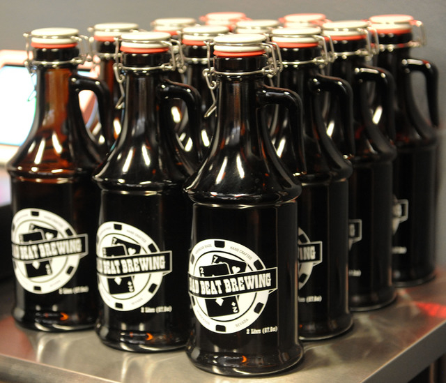 Bottles of beer are seen at Bad Beat Brewing in Henderson, Friday, July 11, 2014. The brew house opened on Friday to large crowds.  (Jerry Henkel/Las Vegas Review-Journal)