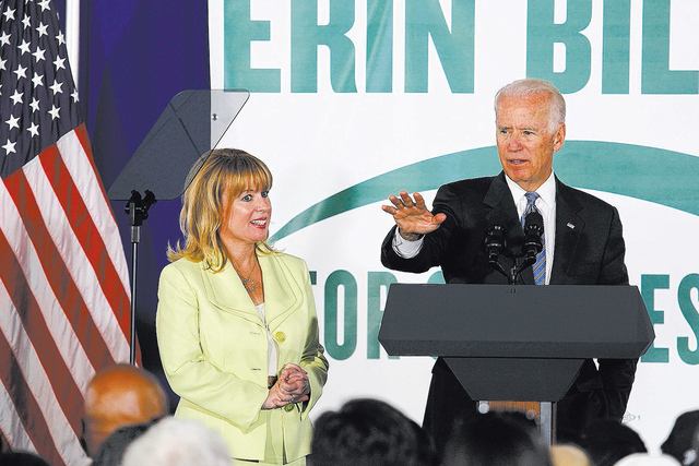 Vice President Joe Biden, right, shows his support for 3rd Congressional District candidate Erin Bilbray during a campaign rally at the Henderson Convention Center on Wednesday, July 23, 2014. (Ja ...