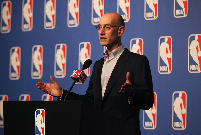 NBA Commissioner Adam Silver speaks during a press conference at the Wynn Hotel and Casino in Las Vegas on Tuesday, July 15, 2014. (Jason Bean/Las Vegas Review-Journal)