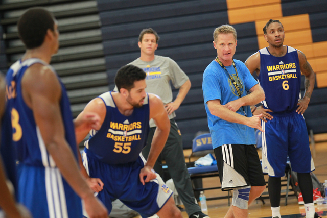 Golden State Warriors Head Coach Steve Kerr, second from right, speaks during practice at Sierra Vista High School in Las Vegas on Tuesday, July 8, 2014. (Chase Stevens/Las Vegas Review-Journal)