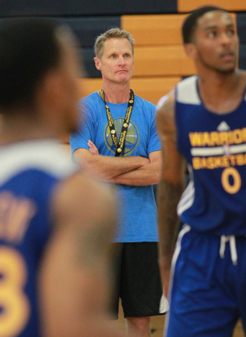 Golden State Warriors Head Coach Steve Kerr watches the action during practice at Sierra Vista High School in Las Vegas on Tuesday, July 8, 2014. (Chase Stevens/Las Vegas Review-Journal)