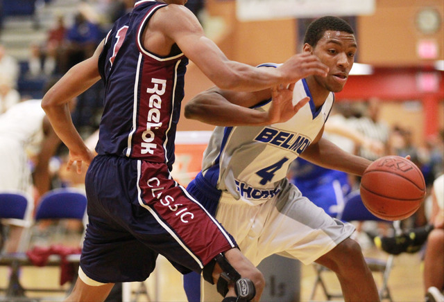 Belmont Shore's Nick Blair (4) drives the ball against Upward Stars' PJ Dozier during a basketball game in the Fab 48 tournament at Bishop Gorman High School in Las Vegas on Thursday, July 24, 201 ...