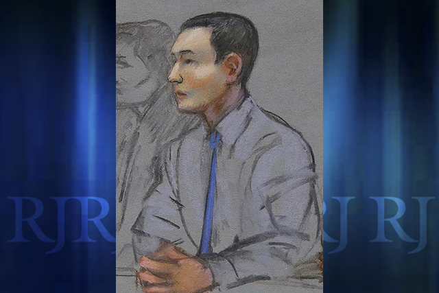 In this May 13, 2014 file courtroom sketch, defendant Azamat Tazhayakov, a college friend of Boston Marathon bombing suspect Dzhokhar Tsarnaev, sits during a hearing in federal court in Boston. Hi ...
