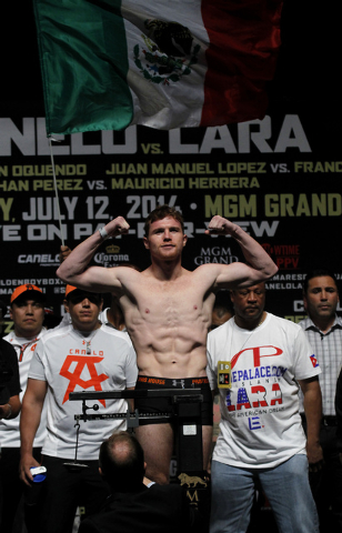 Boxer Saul Canelo Alvarez poses during the official weigh in for his upcoming fight against Erislandy Lara at the MGM Grand Garden Arena in Las Vegas on Friday, July 11, 2014.(Jason Bean/Las Vegas ...
