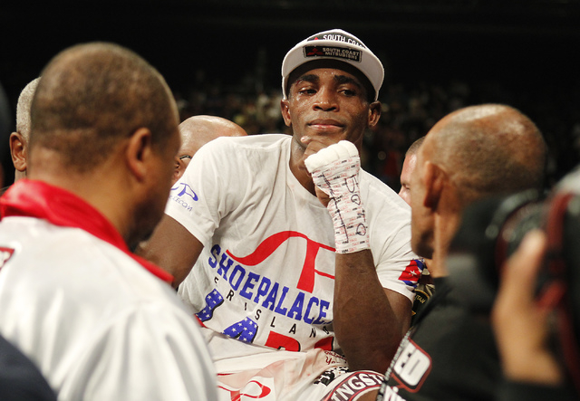 Erislandy Lara reacts after losing a split decision to Saul Canelo Alvarez during their Super Welterweight fight at the MGM Grand Garden Arena in Las Vegas on Saturday, July 12, 2014.(Jason Bean/L ...