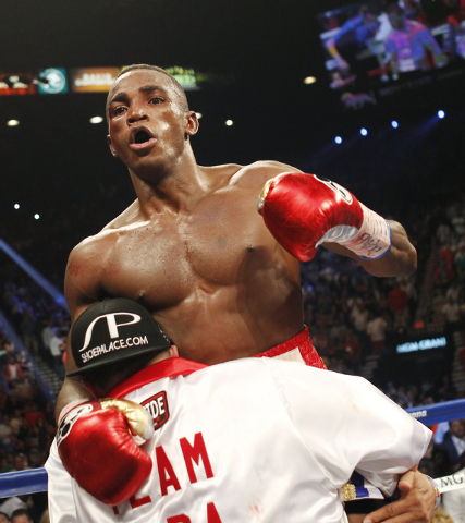 Erislandy Lara reacts moments after the fight ended against Saul Canelo Alvarez at the MGM Grand Garden Arena in Las Vegas on Saturday, July 12, 2014.(Jason Bean/Las Vegas Review-Journal)