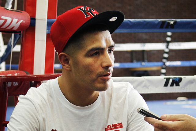 Fighter Brandon Rios speaks to the media before working out at the Top Rank boxing gym in Las Vegas on July 30, 2014. (Jason Bean/Las Vegas Review-Journal)
