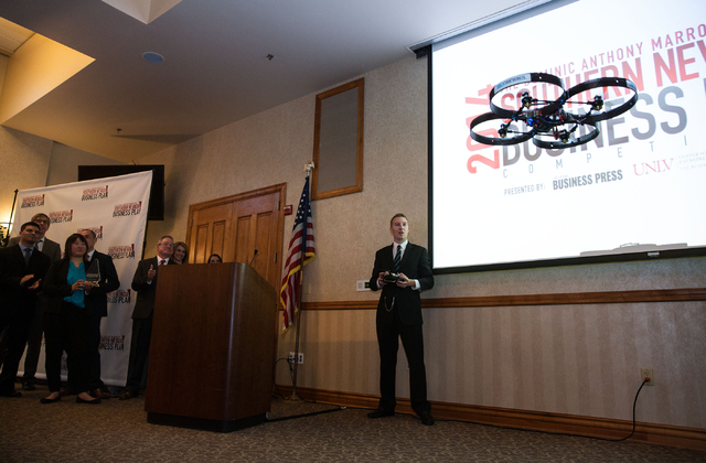 Greg Friesmuth, CEO and co-founder of Skyworks Aerial Systems, shows off a drone following the announcement his team won the Dominic Anthony Marrocco Southern Nevada Business Plan Competition on A ...
