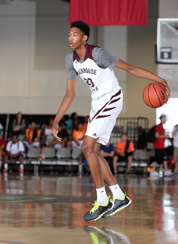 Brandon Ingram of Stackhouse Elite looks to make a play on offense during adidas Uprising at the Cashman Center. (Photo by Kelly Kline/adidas)