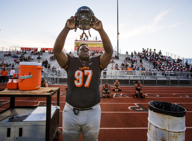 """James """"Bubba"""" Dukes before the start of a Chaparral High School football against Faith Lutheran on Friday, Sept. 12, 2013. The Cowboys got beat 27-12. (Jeff Scheid/Las Vegas Review-Journal)"""