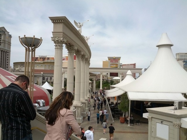 Foot traffic is seen near Caesars Palace in Las Vegas on Thursday, March 27, 2014. (Las Vegas Review-Journal)